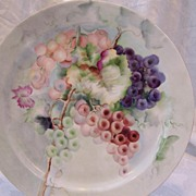 "Century Old Haviland Limoges France ""Still Life of Grapes"" Hand Painted Antique Porc"