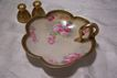 Limoges Factory-Decorated Ring-Handled Olive or Lemon Dish Featuring Pink Tea Roses- Hand Painted & Signed by the Renown Artist 'Golan'- (Bonbon Server Nappy/ Butterball Tray)
