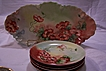 Rare Limoges France Ice Cream Tray or Bowl with 4 matching Dessert Plate (s)- Serving Set decorated w/ 'Pretty Poppies'