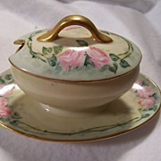 'Dainty Pink Roses' Limoges Mustard Boat Condiment Jar with Lid and Attached Underplate.