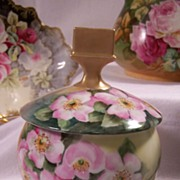 Impressive Antique Square-Handled Humidor Tobacco Jar Limoges Porcelain Hand Painted w/ Wild .
