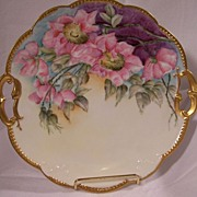 Elegant French Limoges Cake Plate featuring 'Garden Wild Pink Roses' with Pierced Gold Handles