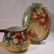 "SALE Unusual and Rare Limoges Plaque featuring 'Hanging Plump Red Apples"" HP Factory Deco"