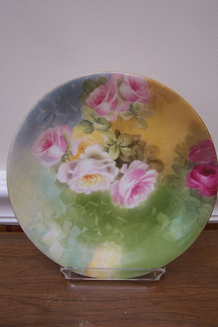 Delicate Limoges Finely Hand Painted Plate Charger featuring 'Pink, White, and Yellow Rose Blossom Bouquet' ~Victorian Era