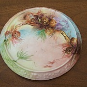 SALE PENDING Hard to Find Antique Limoges Trivet Plate Hand Painted w/ Naturalistic Pine Cones