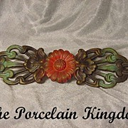 Art Nouveau painted iron daisy & butterfly filigree leaf curtain rod holder