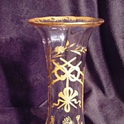 SALE Hand blown manganese glass vase with hand painted gold design