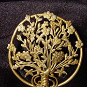 Art Nouveau Basket of Flowers gilt brass large pin brooch