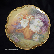 Limoges antique porcelain wall plaque Roccoco charger hand painted basket of dahlia flowers Fr