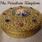 French gold dore filigree & guilloche enamel Venetian jeweled hinged patch box
