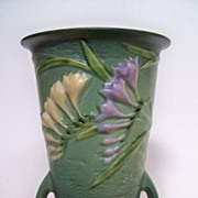 "SOLD Roseville Green Freesia 10"" Vase"
