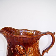 SALE Rockingham Pitcher with Floral Pattern