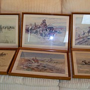 SALE Set of Six Framed Prints by C.M. Russell