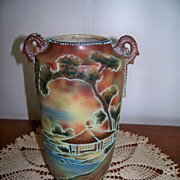 SALE Oriental Moriage decorated and beaded Scenic Vase