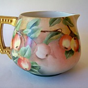 SALE Limoges Large Hand Painted Cider Pitcher
