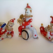 SALE Set of Three Wonderful Porcelain Clowns