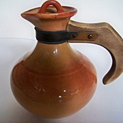 SALE Bauer or Gladding McBean Pitcher with Stopper and Wooden Handle