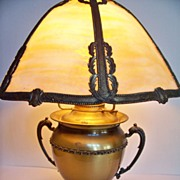 SALE Early Miller Brass Lamp with Panel Shade.