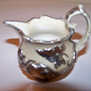 SALE Early Earthenware Creamer with Silver Overlay