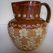 SOLD Doulton Lambeth Pitcher with Floral Decoration