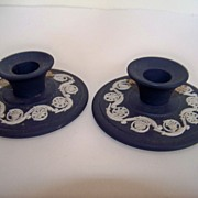 SALE Wedgwood Blue and White Candlesticks