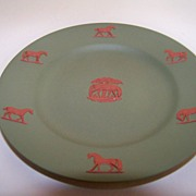 SALE Sage Green Wedgwood Plate with Horses