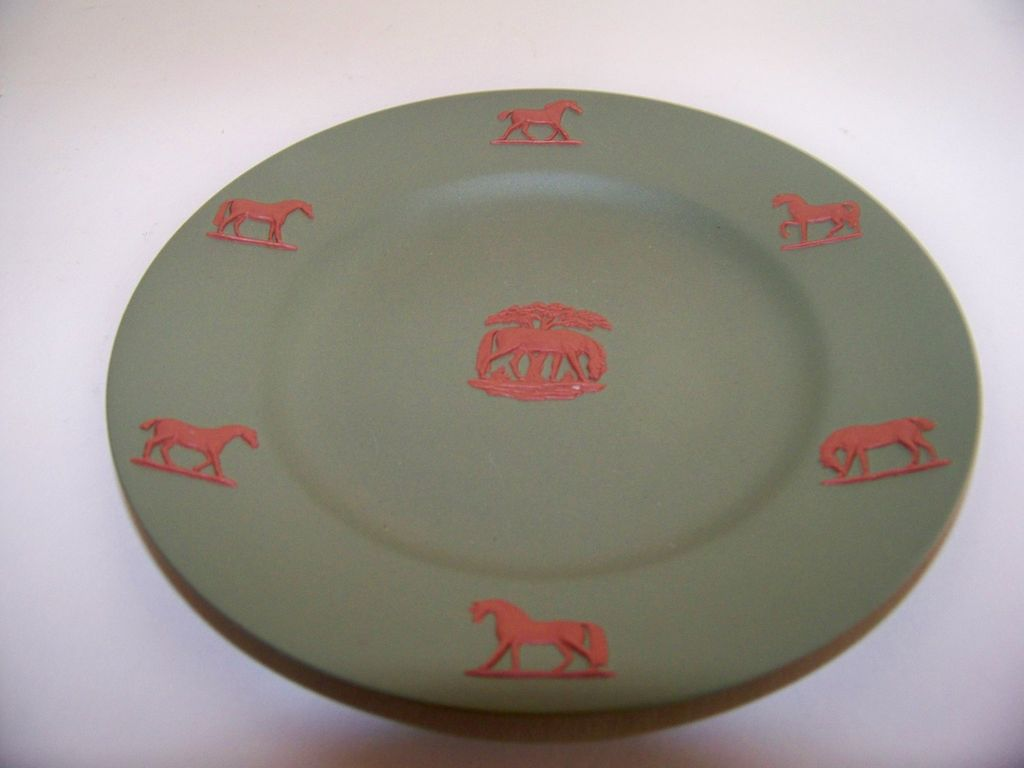 Sage Green Wedgwood Plate with Horses