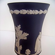 SALE Dark Blue and White Wedgwood Footed Vase