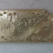Antique Chinese Engraved  Mother of Pearl Thread Winder Missing Corner Beautiful