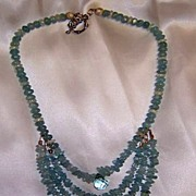 Aqua 4 You- Aquamarine & blue topaz beaded necklace