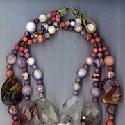 SALE Phantom Quartz & Mexican Fire Agate (Beehive pattern) : Autumn Mystery