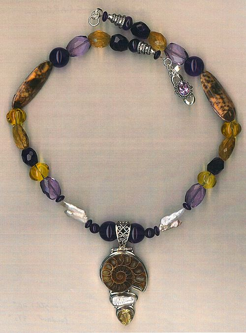 Ammonite & Citrine beads & Shell Beads & pearls : Jamaica