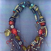 Red Coral African Baatik beads Pumtek beads : Out of Africa IV