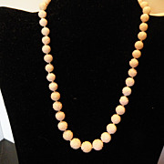 Carved White Coral Beaded Necklace 16 inches- 7.41mm-11.02 mm