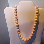 Vintage 11.82  mm-12.01 mm Angel Skin coral beaded 19� necklace 14 Kt gold Clasp 75 grams