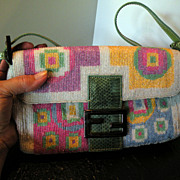 SALE Authentic Full-Beaded Fendi Bag with Snake-skin Trim