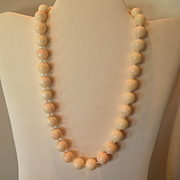 Beautiful Angel Skin 12.60 - 12.71 mm Coral Necklace 90 grams (34) beads 19.5 inch & 14 kt cla