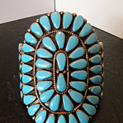 SALE Zuni Giant Petty Point Vintage Turquoise Bracelet by Premier Artist Sadie Blue Eyes