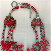 Red Coral & Tibetan beads : Red Chili Pepper Coral