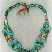 SALE Carved Turquoise Pendant & Turquoise Fetish beads : Squirrel Mountain