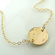 Femme- Ultra Feminine, 14K Gold Filled Dainty Shiny Hammered Circle and Cable Chain Necklace