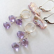 Misty - Lustrous, Colorful Biwa Stick Pearls And Lilac Amethyst - Sterling Silver Dangle Earri