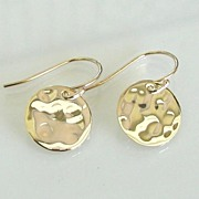 Tiny Baubles - Simple, Small 14K Gold Filled and Vermeil Shiny Hammered Disc Circle Drop Earri