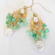 Neoclassicism - Faceted Chrysoprase Rondelles, Keishi Pearls, Highly Detailed Gold Vermeil Ear