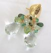 Feuilles d'or - 11 Carats Prasiolite, Emeralds, Prehnite, Peridot, Tourmaline, Vermeil Leaf Post Earrings