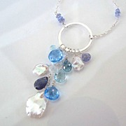 Something New, Something Blue - Faceted  Blue Topaz, Iolite, Moonstone, Tanzanite, Keishi Pear