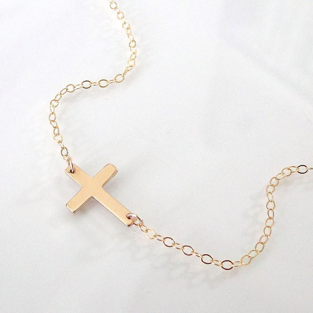 Sideways Cross Necklace - Small 14K Gold Filled Cross - Simple And Modern