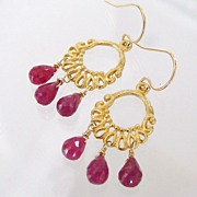 Ruby Dangles - 7.5 Carats Genuine Ruby Briolettes - 14K Gold Filled And Vermeil Earrings