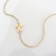 Sideways Initial Necklace- 14K SOLID GOLD Initial, 14K Gold Filled Chain - You Asked For It, S