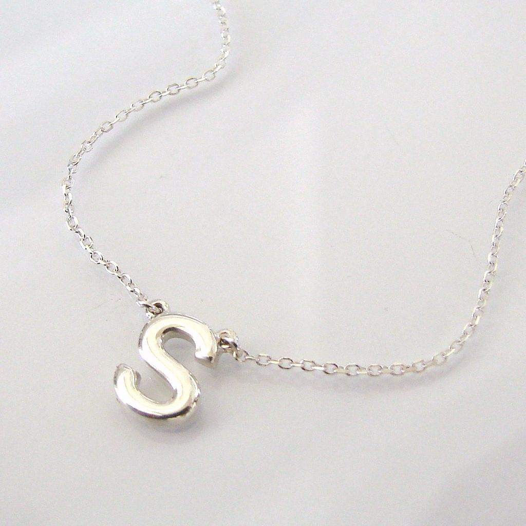 dainty initial necklace ultra feminine sterling silver